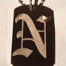 OLD English Font Initial Alphabet Letter N - Dog Tag w/ Metal Chain Necklace
