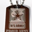 "United States Military ""Proud Army Sister"" - Dog Tag w/ Metal Chain Necklace"