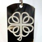 Celtic Clover Lucky Irish Shamrock Leaf Logo - Dog Tag w/ Metal Chain Necklace