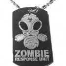 Military Dog Tag Metal Chain Necklace - Zombie Response Unit Alien Face Gas Mask