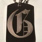 OLD English Font Initial Alphabet Letter G - Dog Tag w/ Metal Chain Necklace