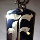 OLD English Font Initial Alphabet Letter E - Dog Tag w/ Metal Chain Necklace