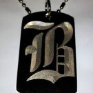 OLD English Font Initial Alphabet Letter B - Dog Tag w/ Metal Chain Necklace
