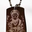 Hindu Lord Diety Goddess of Wealth Lakshmi - Dog Tag w/ Metal Chain Necklace