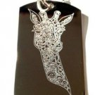 Giraffe Animal Celtic Tribal Tattoo Head Bust - Dog Tag w/ Metal Chain Necklace