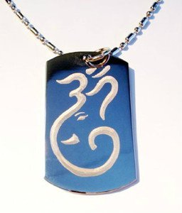 Hindu Religion Lord Ganesh Elephant God Om - Dog Tag w/ Metal Chain Necklace