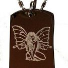Sexy Butterfly Fairy Princess Seductress - Dog Tag w/ Metal Chain Necklace