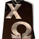 Sorority House Greek Symbol Chi Omega Logo - Dog Tag w/ Metal Chain Necklace