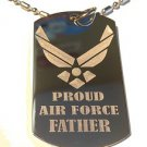 Military Dog Tag Metal Chain Necklace - Proud Air Force Father USAF Wings Logo