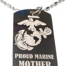 Military Dog Tag Metal Chain Necklace - Proud Marine Corps Mother USMC Logo
