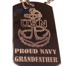 Military Dog Tag Metal Chain Necklace - United States Proud Navy Grandfather USN