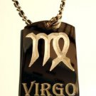 Military Dog Tag Metal Chain Necklace - Celtic Zodiac Signs Sign Virgo Symbol