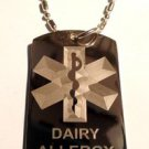 Military Dog Tag Metal Chain Necklace - Medical Emergency Dairy Allergy Logo