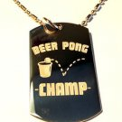 Military Dog Tag Metal Chain Necklace - Beer Pong College Drinking Game Champ