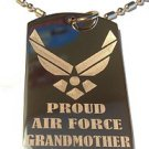 Military Dog Tag Metal Chain Necklace - Proud Air Force Grandmother USAF Wings