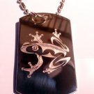Military Dog Tag Metal Chain Necklace - Tree Frog Tattoo Logo Symbol