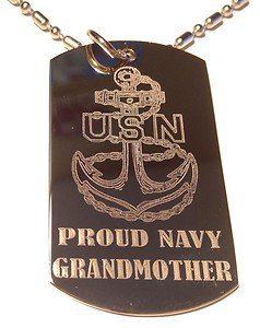 Military Dog Tag Metal Chain Necklace - United States Proud Navy Grandmother USN