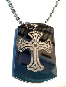 Military Dog Tag Metal Chain Necklace - Jesus Christ Christian 3D Cross Religion
