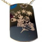 Military Dog Tag Metal Chain Necklace - Paintball Paint Gun Guy Logo Symbol