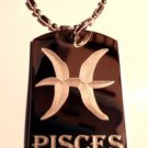 Military Dog Tag Metal Chain Necklace - Celtic Zodiac Signs Sign Pisces Symbol