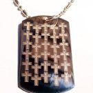 Military Dog Tag Metal Chain Necklace - Classic Christian Cross Repeating