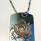 Presidential Army Usa Seal Pewter Emblem  - Dog Tag w/ Metal Chain Necklace