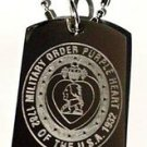 US Military Armed Forces Purple Heart Bravery - Dog Tag w/ Metal Chain Necklace