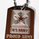 """United States Military """"Proud Army Brother"""" - Dog Tag w/ Metal Chain Necklace"""