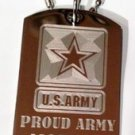 """United States Military """"Proud Army Mom"""" - Dog Tag w/ Metal Chain Necklace"""