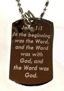 John 1:1 Christian Jesus Bible Biblical Verse - Dog Tag w/ Metal Chain Necklace