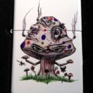 Zippo Custom Lighter - Smoking Mushroom Shroom Psychedllic Eyes Faces White