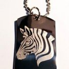 Zebra Black White Horse Animal Logo - Dog Tag w/ Metal Chain Necklace