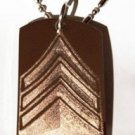USA Army Military Officer Rank Sargeant Logo - Dog Tag w/ Metal Chain Necklace