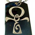 Tribal Tattoo Ankh Egyptian Egypt Cross Logo - Dog Tag w/ Metal Chain Necklace