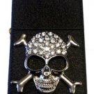 Vector Custom Crystal Emblem Butane Lighter - Skull & Crossbones Black Crackle