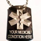 Medical Emergency Personalized Customized Logo - Dog Tag w/ Metal Chain Necklace