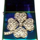 Vector Custom Crystal Emblem Butane Lighter - 4 Leaf Lucky Clover Prism Colors