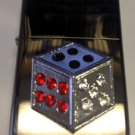 Vector Custom Crystal Emblem Butane Lighter - Gamble Dice Craps Black Sparkle