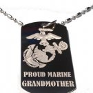 Military Dog Tag Metal Chain Necklace - Proud Marine Corps Grandmother USMC