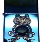 Vector Custom Crystal Emblem Butane Lighter - Cute Jumping Frog Sparkle Blue