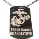 United States USMC Marines Proud Grandfather - Dog Tag w/ Metal Chain Necklace
