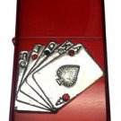 Vector Custom Crystal Emblem Butane Lighter - Flush Poker Card Game Sparkle Red