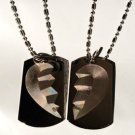 SET of TWO Hearts Breaking Apart Distant Love  - Dog Tag w/ Metal Chain Necklace