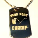 Beer Pong College Drinking Game Champ Logo  - Dog Tag w/ Metal Chain Necklace
