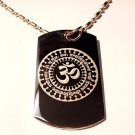 Hindu Lord Gayatri Mantra Meditation AUM Logo  - Dog Tag w/ Metal Chain Necklace
