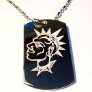 Punk Rocker Dog Collar Spikey Hair Dude Logo  - Dog Tag w/ Metal Chain Necklace