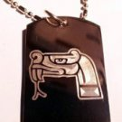 Aztec ART Serpent Snake Animal Logo Symbol - Dog Tag w/ Metal Chain Necklace