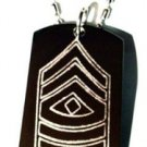 Army Military Officer First Sergeabt Sgt Rank - Dog Tag w/ Metal Chain Necklace