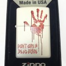 "Zippo Custom Lighter - Bloody Dead Zombie Hand ""Dont Open Dead Inside"" White"