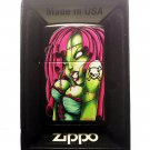 Zippo Custom Lighter - Sexy Zombie Hot Babe Chick with Skull Crossbones Tattoo